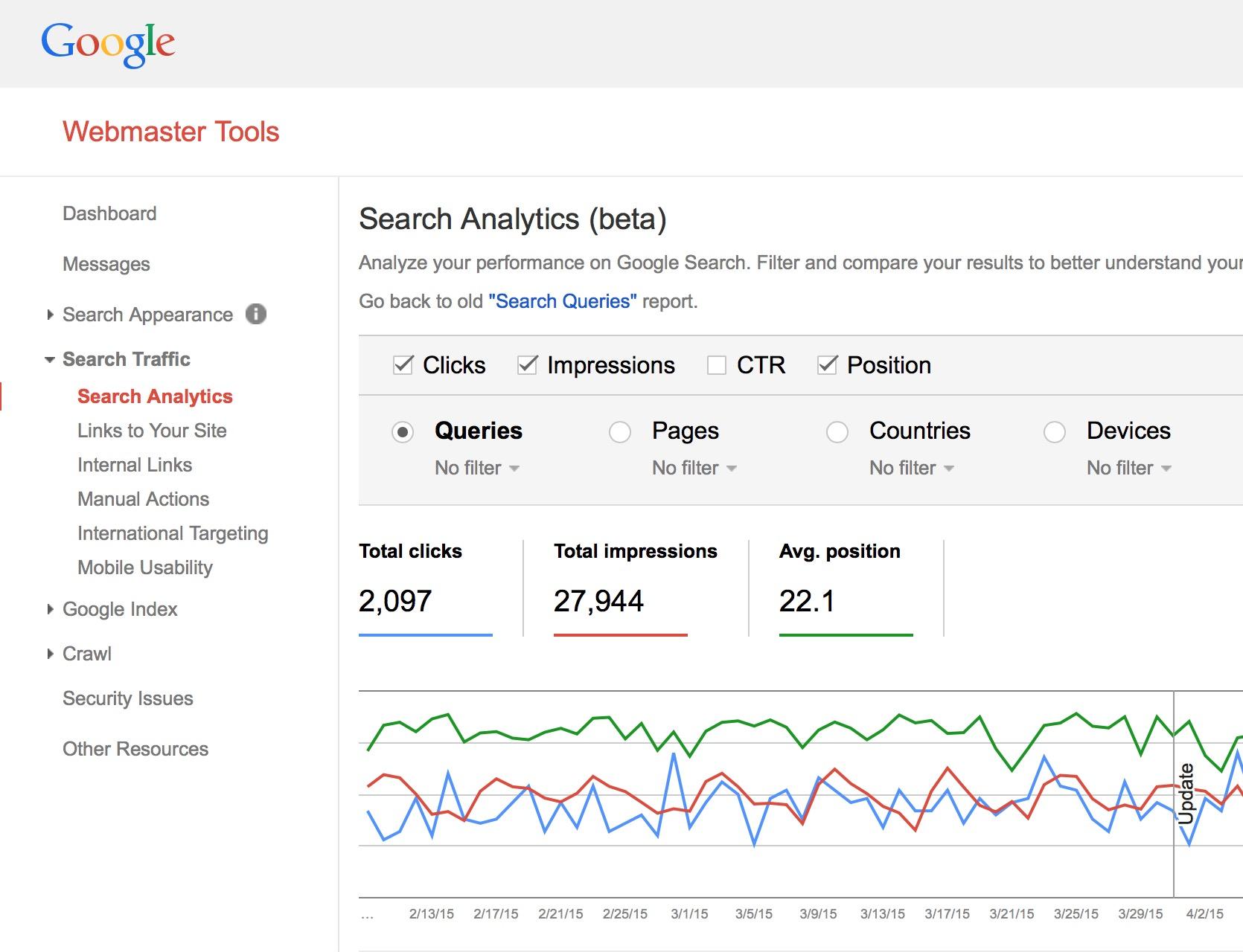 google webmaster tools for SEO monitoring