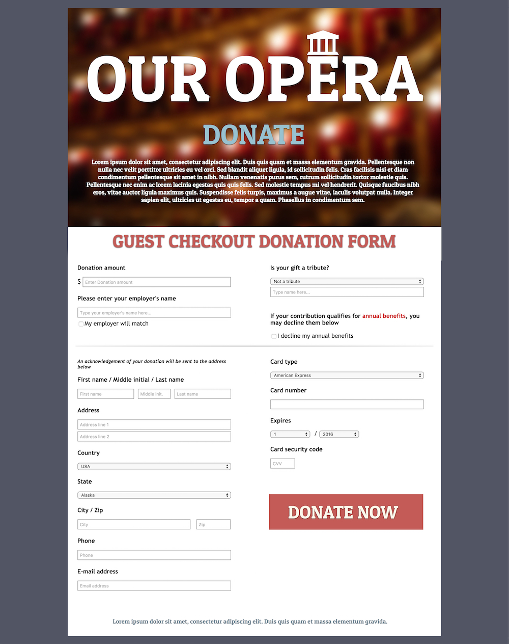 Tessitura Guest Checkout Donations custom web page